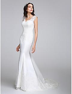 LAN TING BRIDE בתולת ים \ חצוצרה שמלת חתונה שקוף שובל קורט צווארון וי סאטן עם אפליקציות כפתור