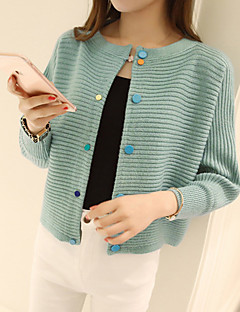 Women's Casual/Daily Simple Short Cardigan,Striped Blue / Pink / Red / Black Round Neck Long Sleeve Acrylic Spring Medium Micro-elastic