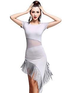 Latinské tance Šaty Dámské Trénink Süt Filtresi Střapce Jeden díl Krátké rukávy Vysoký Šaty M:75  L:76  XL:77  XXL:78  XXXL:79