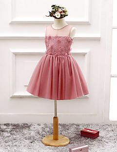A-line Knee-length Flower Girl Dress - Tulle Sleeveless Scoop with Flower(s) / Lace