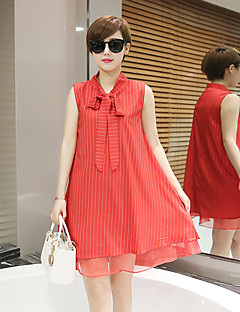 Maternity Going out Sexy Loose Dress,Solid V Neck Above Knee Sleeveless Red / White Polyester Summer