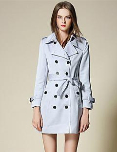 BURDULLY® Dames Overhemdkraag Lange mouw Trenchcoat Cyaan-5120