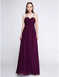 Lanting Bride®Floor-length Chiffon Bridesmaid Dress - Elegant Sheath / Column Spaghetti Straps with Beading / Criss Cross