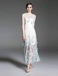 es.dannuo Frauengehen Sling Kleid, bestickt runder Ausschnitt midi ärmellos blau / weiß Polyester Sommer