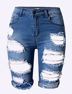 Damen Hose - Sexy Kurze Hose / Jeans Leinen Mikro-elastisch