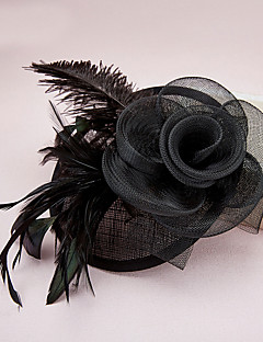 Women's Feather / Tulle / Net Headpiece-Wedding / Special Occasion Fascinators / Hats 1 Piece