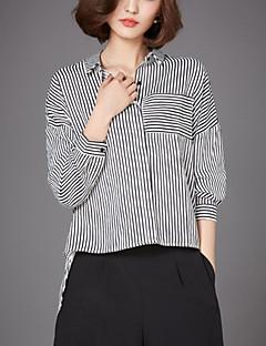 Gestreift Street Schick Hemd,Hemdkragen Herbst Langarm Weiß Schwarz Kunstseide Nylon Mittel
