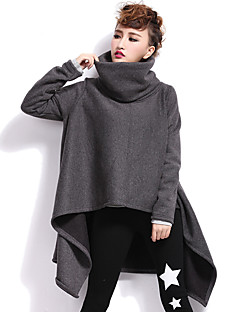 Women's Casual/Daily Street chic Coat,Solid Turtleneck Long Sleeve Winter Black / Gray Cotton Thick