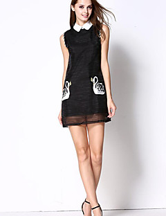 Women's Casual/Daily Cute Sheath DressEmbroidered Peter Pan Collar Mini Sleeveless White / Black Polyester Summer
