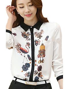 Damen Druck Einfach Lässig/Alltäglich / Übergröße Hemd,Hemdkragen Frühling / Herbst Langarm Weiß Polyester Dünn