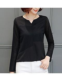אחיד צווארון עגול פשוטה יום יומי\קז'ואל חולצה נשים,סתיו שרוול ארוך לבן שחור בינוני (מדיום) כותנה