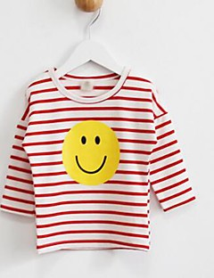 Girl's Casual/Daily Striped Tee / Blouse,Cotton Spring / Fall Blue / Red