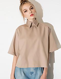 Polyester Gul Solid Halvlange ermer,Skjortekrage Skjorte Ensfarget Høst Enkel Fritid/hverdag Kvinner