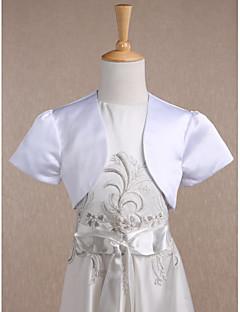 子供用 シュラッグ 半袖 サテン ホワイト 結婚式 / パーティー ワイドカラー 34cm ドレープ フロントオープン