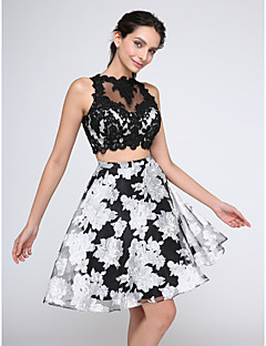 TS Couture® Cocktail Party / Prom Dress A-line Jewel Knee-length Organza / Tulle with Appliques / Buttons / Pattern / Print