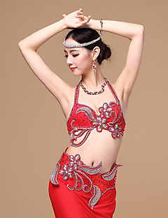 Belly Dance Outfits Women's Performance Cotton / Polyester Buttons / Rhinestones / Paillettes / Flower(s) 2 Pieces