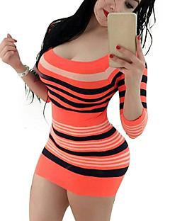 Nais- Vartalonmyötäinen / Tuppi Mekko Seksikäs Bile,Raidoitettu / Color Block Pyöreä kaula-aukko Mini ¾ hiha Oranssi PolyesteriKesä /