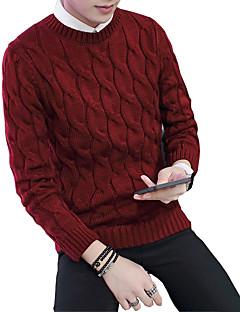 Menn Fritid Lapper Pullover,Bomull Langermet Svart / Blå / Rød / Beige