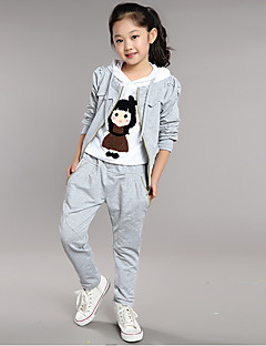 Girl's Cotton  Spring/Autumn Cartoon Pattern Sport Long Sleeve Three-piece Set