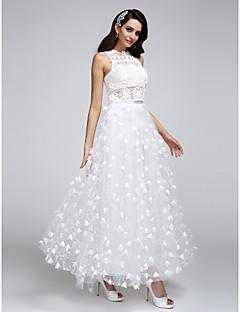 LAN TING BRIDE A-Şekilli Düğün elbisesi Transparan Elbiseler Bilek Boyu Taşlı Yaka Dantelalar Tül ile Çiçek Dantel