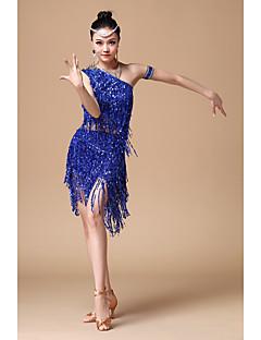 라틴 댄스 의상 여성용 성능 면 폴리에스터 반짝이 반짝이 술 2 개 민소매 내츄럴 나와 위 L: 48-60     XL: 48-60