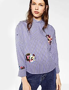 Vrouwen Eenvoudig Lente Overhemd,Casual/Dagelijks Gestreept / Geborduurd Overhemdkraag Lange mouw Blauw Katoen / Polyester Medium
