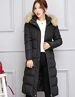 Women's Solid Large Size Thicken Fur Collar Down Coat,Street chic Hooded Long Sleeve