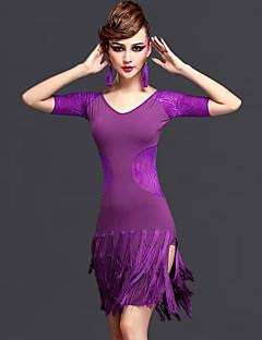 Latin Dansı Elbiseler Kadın's Performans Yapay İpek ChinIon Tül Dantel 2 Parça Kısa Kol Doğal Elbise Şort