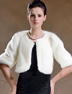 Chusty damskie Bolerka Half-Sleeve Faux Fur Czarny / Biały Ślub / Party / Wieczór Szufelka 42cm Pióra / futro Ukryte zapięcie