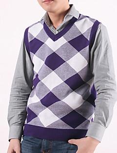 Men's Plaid Casual Vest,Cotton Sleeveless Black / Purple / Gray
