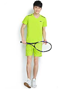ריצה מדים בסטים לגברים שרוול קצר נושם כותנה / 100% פוליאסטר כושר גופני / ספורט פנאי / בדמינטון / רכיבה על אופניים/אופנייים / ריצה ספורטיבי
