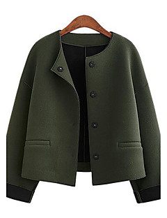 Women's Casual/Daily Street chic Pea Coats,Solid Round Neck Long Sleeve Spring / Fall Gray / Green Polyester Medium