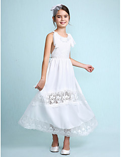 Lanting Bride A-line Ankle-length Flower Girl Dress - Chiffon Sleeveless Scoop with Lace
