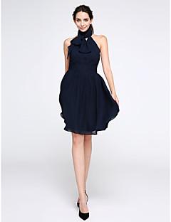 칵테일 파티 드레스 A-라인 하이 넥 무릎 길이 쉬폰 와 루시 주름 장식