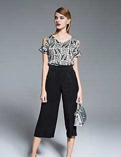 Kadın Opak İpek Kısa Kollu Düşük Omuz Bahar Geometrik Vintage Dışarı Çıkma Siyah-Kadın Set Pantolon Suit