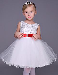 A-line Short / Mini Flower Girl Dress - Tulle Sleeveless Jewel with Beading / Bow(s)