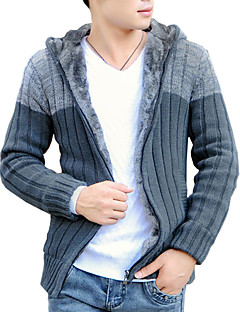 Men's Casual / Work Cardigan,Cotton / Acrylic / Polyester Long Sleeve Black / Gray 916340