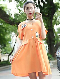 Maternity Casual/Daily Simple Loose Dress,Solid Round Neck Above Knee Short Sleeve Orange Cotton Summer