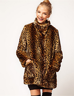 Women's Plus Size /Party/Cocktail Simple Fur Coat,Leopard Stand Long Sleeve Fall / Winter Brown Acrylic Thick