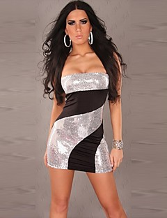xixiangyi® vrouwen sexy strapless met pailletten katoen en spandex mini-jurk