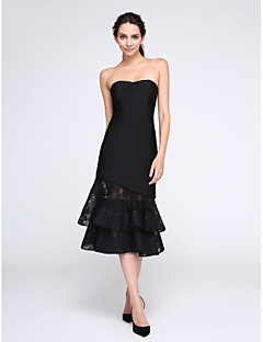 TS Couture® Cocktail Party Dress Sheath / Column Jewel Tea-length Lace / Stretch Satin with Buttons / Lace