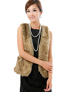 Mulheres Casaco de Pelo Casual Moda de Rua Inverno,Sólido Marrom Pêlo Sintético Decote V-Sem Manga Grossa