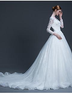 볼 드레스 웨딩 드레스 코트 트레인 스쿱 튤 와 아플리케 / 비즈