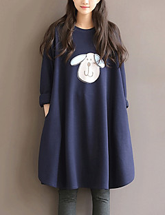 Women's Plus Size / Going out /  Loose Dress,Print Round Neck Knee-length Long Sleeve Blue Cotton / Nylon Fall / Winter