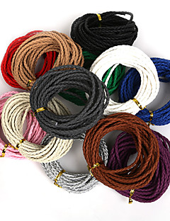 beadia rodada trançado pu corda cordão de couro 3 milímetros de jóias diy tomada de colar pulseira artesanal (5mts)