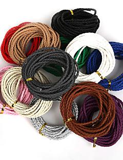 DIY 보석 목걸이 팔찌 공예 만들기에 대한 beadia 3mm 라운드 꼰 PU 가죽 코드 로프 문자열 (5mts)