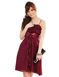 Knee-length Chiffon / Polyester Bridesmaid Dress A-line Spaghetti Straps with Bow(s) / Ruffles / Sash / Ribbon