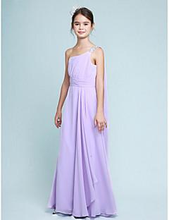 Lanting Bride Floor-length Chiffon Junior Bridesmaid Dress Sheath / Column One Shoulder with Beading / Side Draping / Ruching