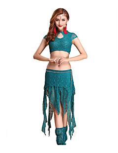 ריקוד בטן תלבושות בגדי ריקוד נשים ביצועים כותנה תחרה 4 חלקים שרוול קצר נפול חצאית / גרביונים / עליון / שורטים 31cm