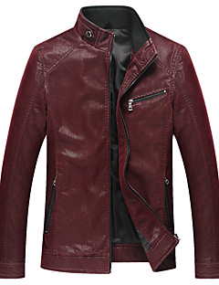 Men's Long Sleeve Casual / Work / Formal / Sport JacketPU Solid Black / Blue / Red / White
